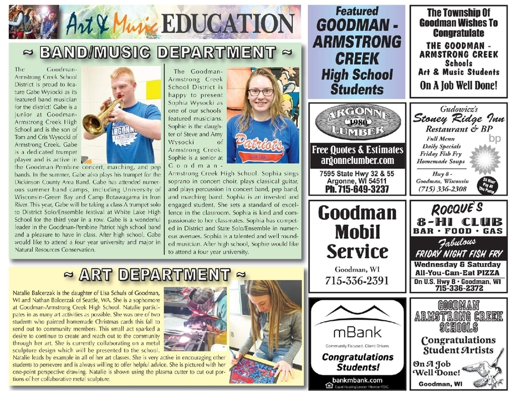 Art & Music Education at Goodman-Armstrong Creek Schools